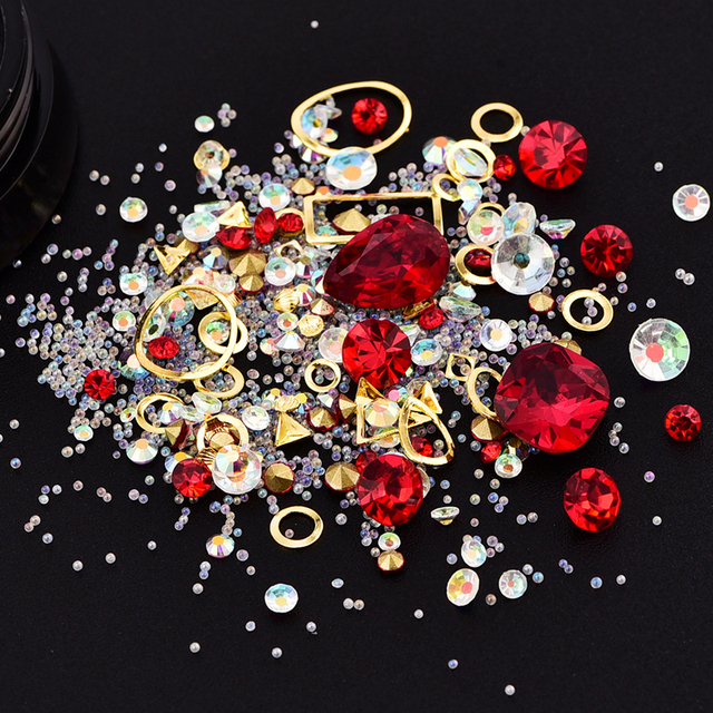 1pcs Mix Designs Elf Beads Nail Decorations Special Shape Crystal Diamond  Nail Jewelry DIY Flat Sharp Drill Rhinestone Decors