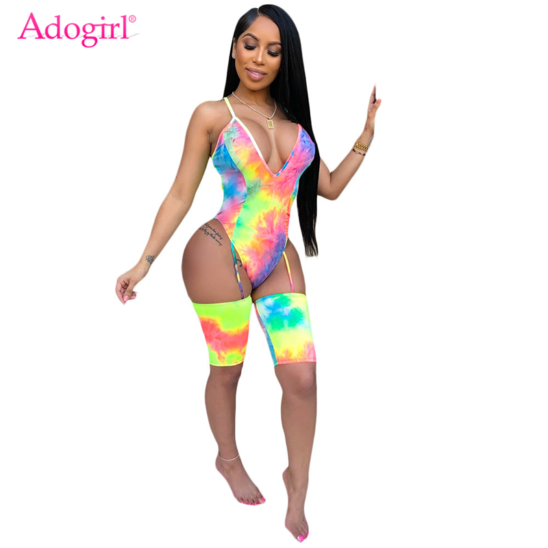 Adogirl Tie Dye Print Women Sexy Jumpsuits Deep V Neck Crisscross Backless Bodysuit Spaghetti Straps Shorts Summer Playsuits