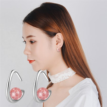 Everoyal Vintage Lady Pink Crystal Earrings For Women Jewelry Fashion 925 Sterling Silver Earring Girls Princess Accessories