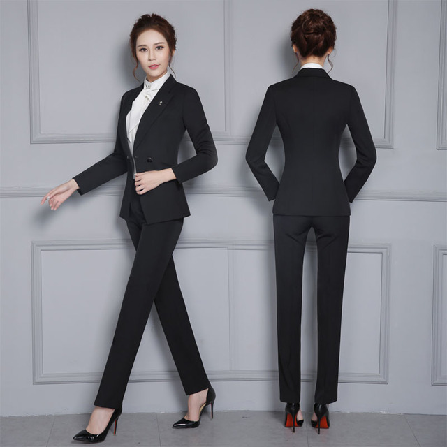 Fashion Formal Uniform Design Female Pantsuits Professional Jackets ...