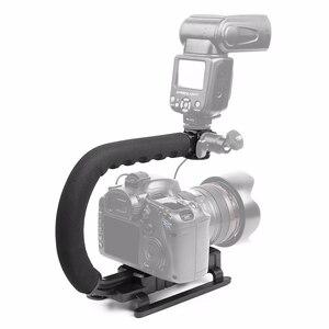 Image 4 - Pro câmera estabilizador triplo sapato montagem suporte de vídeo vídeo aperto flash adaptador montagem para gopro nikon dslr slr iphone x 8