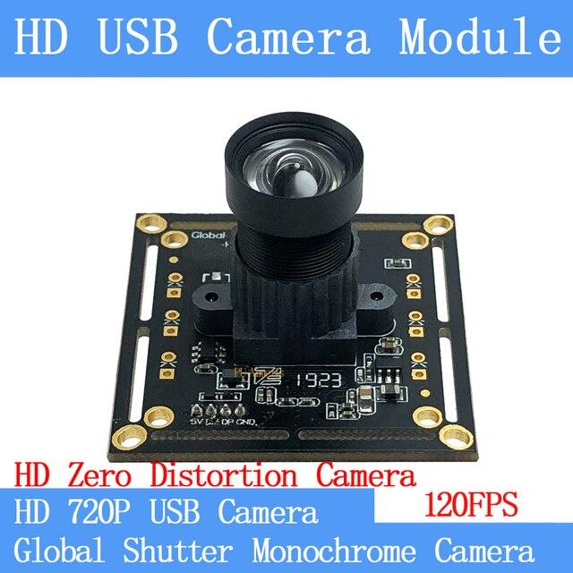 720P 120FPS MJPEG Módulo de cámara USB sin distorsión obturador Global monocromo de alta velocidad OTG UVC Linux cámara de vigilancia CCTV