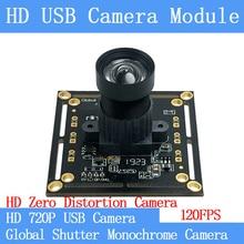 720P 120FPS MJPEG USB Camera Module Non Distortion Global Shutter monochrome High Speed OTG UVC Linux CCTV Surveillance camera