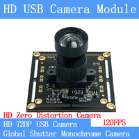 720P 120FPS MJPEG USB Camera Module Non Distortion Global Shutter monochrome High Speed OTG UVC Linux CCTV Surveillance camera