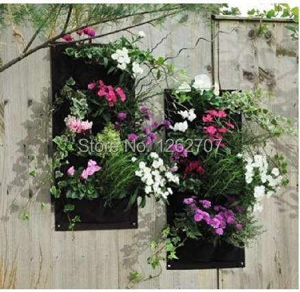 5pieces 4 Pocket Hanging Vertical Garden Wall Planter - for herbs lettuce...