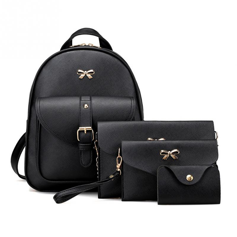 4 Pcs/set Women Backpack Small Size Fashion Teenage Girls Pu Leather Backpacks With Purses Mochila Feminina