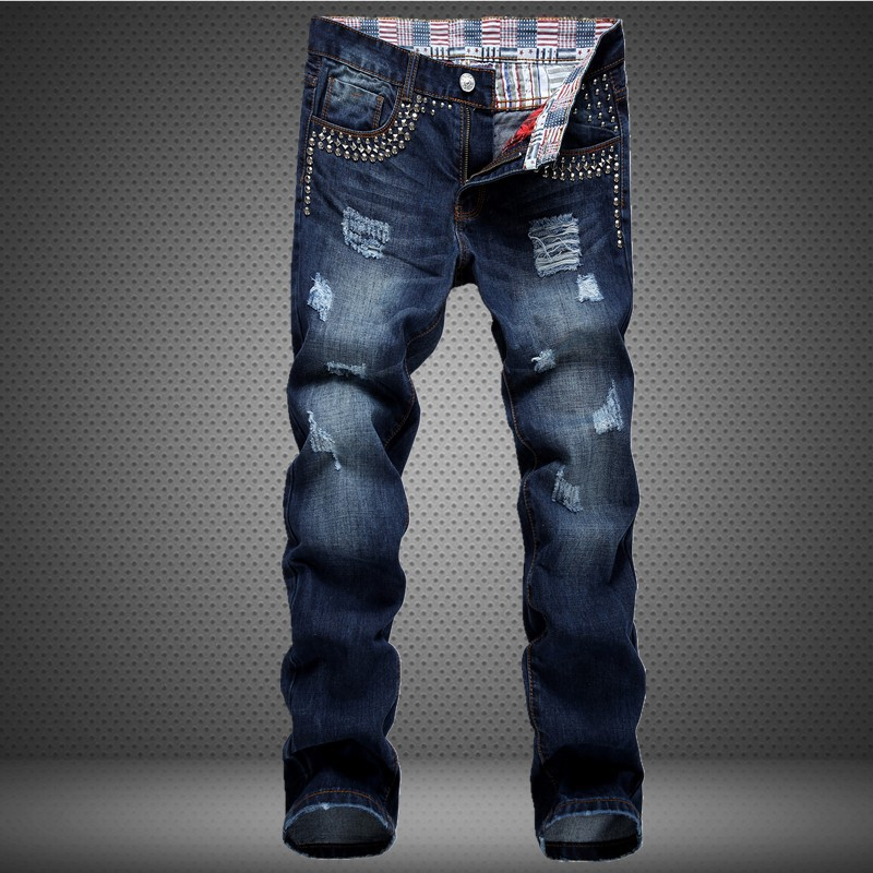 ФОТО NEW Blue Men Jeans High Quality Classic Skinny Biker Motorcycle Jeans Zipped Ripped Denim Slim Fit Hip Hop  hip hop Jeans