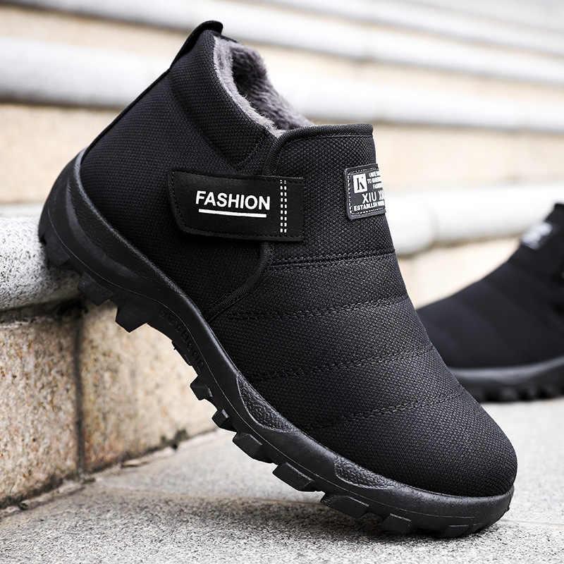 Мужские зимние ботинки на меху, самые дешевые, 2018, теплые зимние ботинки, мужские зимние ботинки, Рабочая обувь, мужская обувь, меховые, флок, резиновые ботильоны