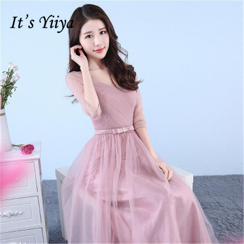 It's YiiYa   Bridesmaids     Dress   Soybean Color V-neck Half Sleeve A-line Lace Up Formal   Dress   B020 robe de soire In Stock