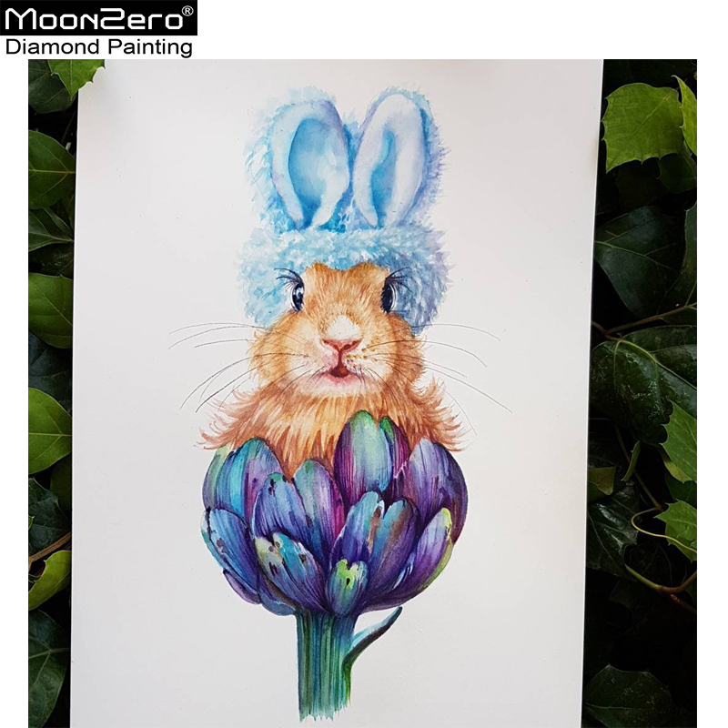 Full Square/Round Diamond 5D DIY Diamond Flower Bunny 3D Embroidery Cross Stitch Mosaic Animal Home Decoration Gift