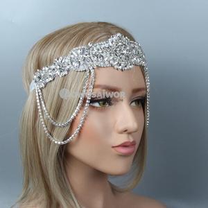 Роскошный свадебный ободок для волос, с кристаллами и стразами, нежная подвеска ручной работы, бесценное украшение