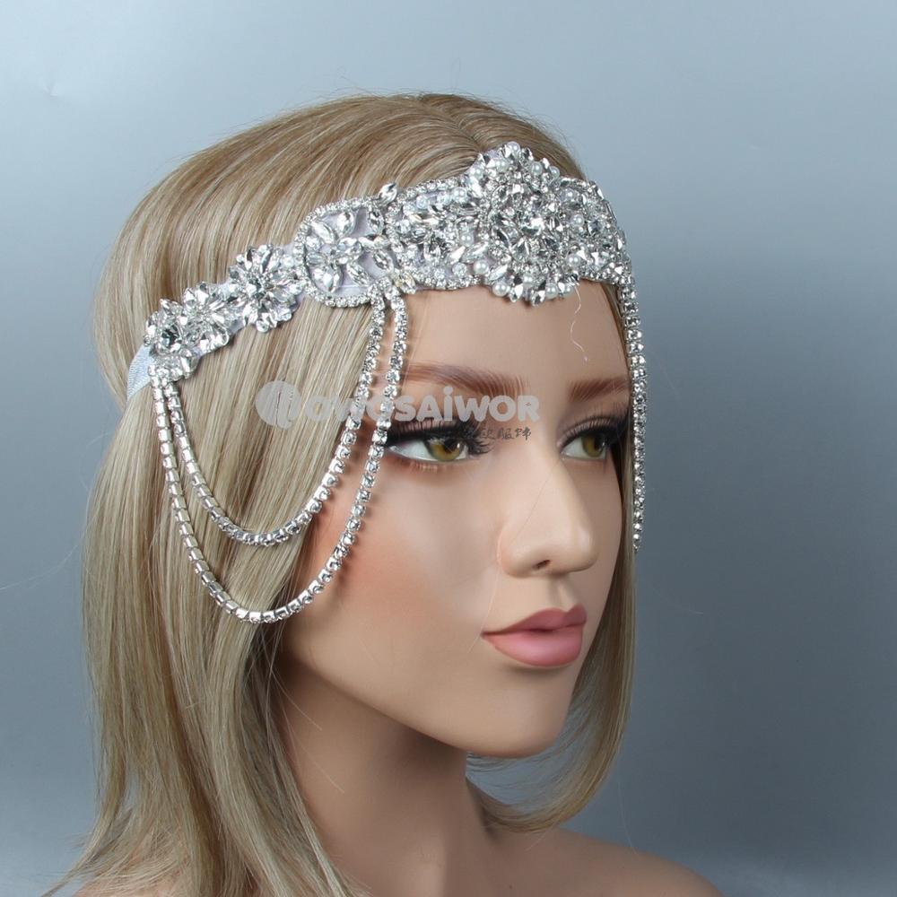 Роскошная обувь с украшением в виде кристаллов женские аксессуары для волос для невесты, со стразами Хлопушки Повязка для свадьбы 1920s Гэтсб...