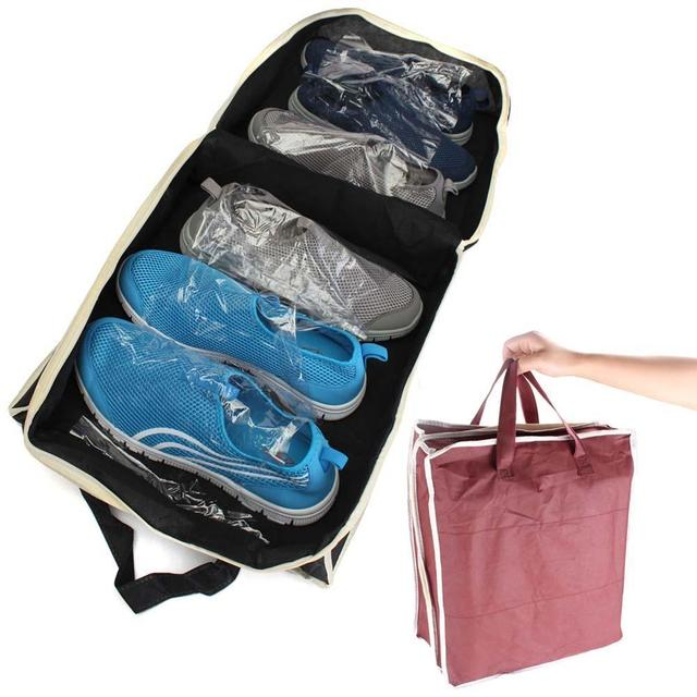 6 Grids Portable Shoe Storage Bag Zipper Dustproof Shoes Organizer Tote Pouch Outdoor Slippers Carrier Holder