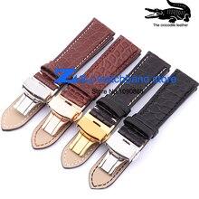 Général crocodile bracelet en cuir avec fermoir Papillon bracelet montres bande de haute qualité 18mm 19mm 20mm 21mm 22mm