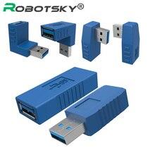 כחול 90 תואר אנכי שמאל ימין עד למטה בזווית USB 3.0 זכר לנקבה M/F מתאם מחבר ממיר