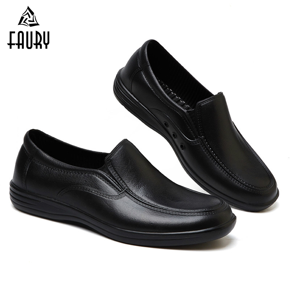 Professional Chef Work Anti-slip Shoes Men Cook Shoes Safety Black Slip-on Shoes Unisex Kitchen Canteen Waterproof Oilproof