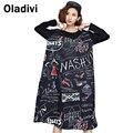 2016 Осенью и Зимой Плюс Размер Одежды Свободные Женщины Dress Мода Печати С Длинным Рукавом Повседневные Платья Большой Размер Черный Vestidos