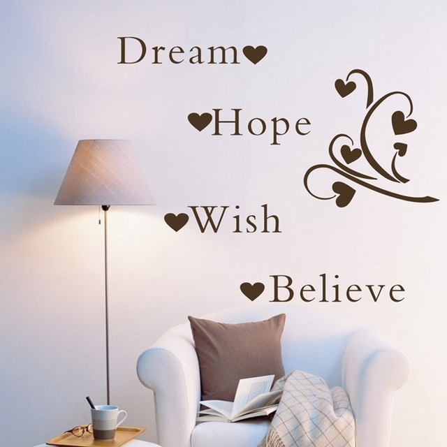 Large Size Free Shipping Dream Hope Wish Believe Inspirational Words  Removable Wall Quotes Wall Word Art