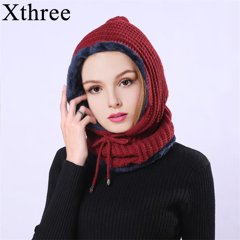 Xthree Women's Knitted Beanie Hat Scarf Set Skullies Beanies Winter Hats For Men Women Cap Solid Bonnet Mask Brand Hat