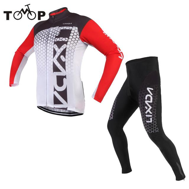Lixada Cycling Clothing Long Sleeve Cycling Jersey + Padded Mountain Bike  Clothes Breathable Bicycle Sportswear a3e26e558