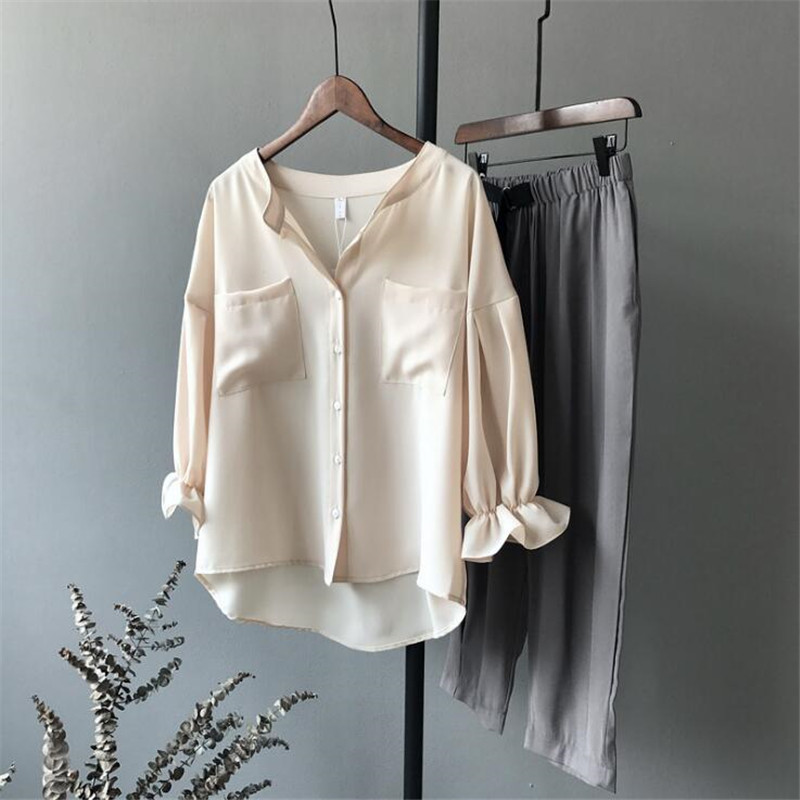 High quality Casual Chiffon Apricot Women   blouse     shirt   oversized breathable loose   shirt   office wear Fashion Solid tops blusas