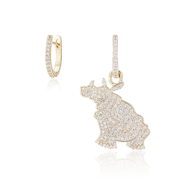 XIUMEIYIZU Hot Selling Asymmetry Blue and White Color Cubic Zirconia Animal Hippo Earrings for Women