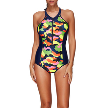 One Piece Roupa de banho 2018 New Sport Swimwear Women Vintage Bathing Suits Summer Beach Wear Zipper Front Swimming Suit