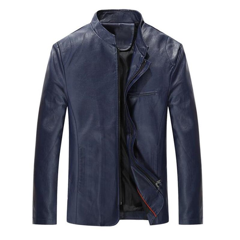 Hombres chaqueta de cuero con cremallera Negro Primavera / otoño - Ropa de hombre - foto 3