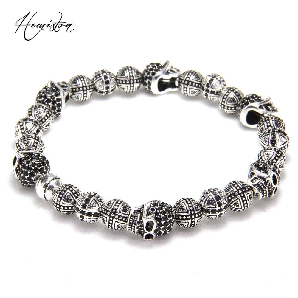 Thomas Skulls and Cross Hero Bead Elastic Bracelet from Rebel Heart Style, European Fashion Jewelry for Men TS-B983