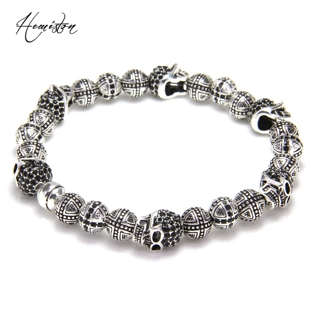 Thomas Skulls and Cross Hero Bead Elastic Bracelet from Rebel Heart Style, European Fashion Jewelry for Men TS-B983