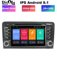 2+32G Android 9.1 Car DVD Player for Audi A3/S3 GPS Navigation GPS Radio WiFi OBD Bluetooth Mirror link Steering wheel Control