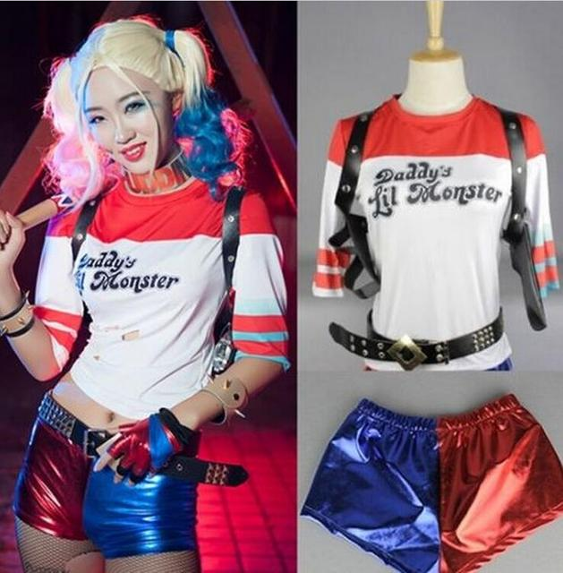 e824a766 Batman Film Suicide Squad Harley Quinn T-Shirt Shorts Cosplay Kostuum Set