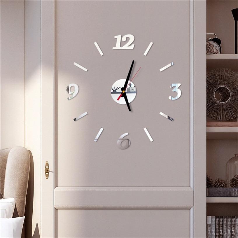 Cheap Bricolage Miroir Horloge Murale Autocollant Acrylique 3d