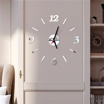diy Mirror Wall Clock Sticker Acrylic 3D Roman Numbers Clock Wall Art Watch Decals Wall Clocks for Living Room Home Office 9M14 1