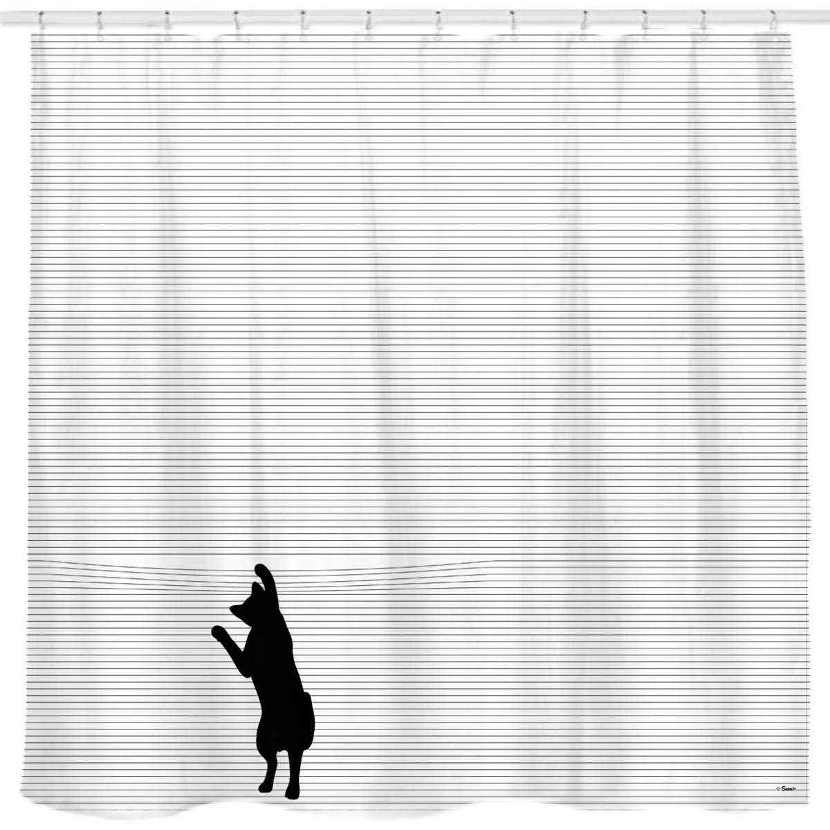 Nette Schwarz Cartoon Katze Dusche Vorhang mit Schwarz und ...