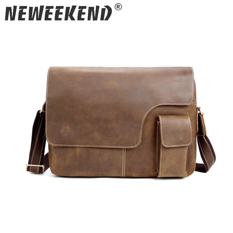 New 100% Genuine Leather Men Bag Fashion Casual Genuine Leather Bag Messenger Bag Men Shoulder Bag MuShi-1076