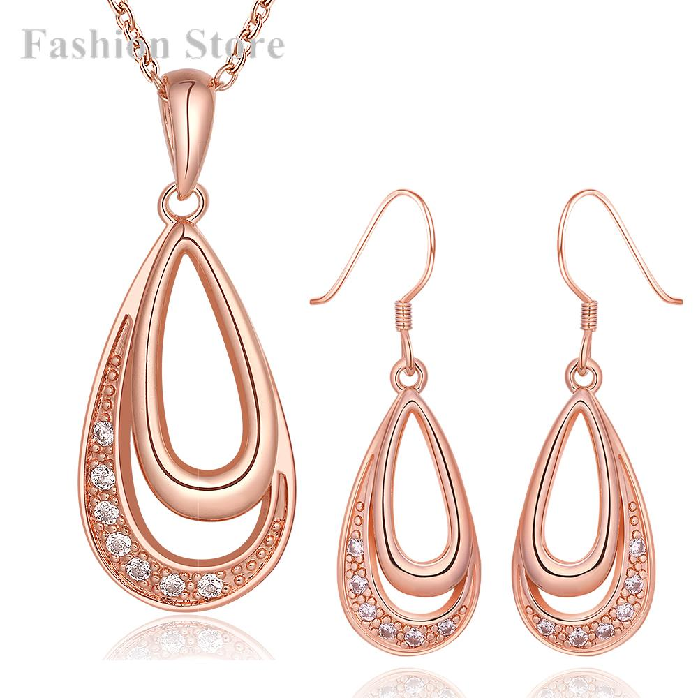Online Shop 18K Gold Plating Jewelry Set Rose Gold Water Drop