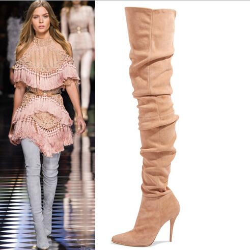 zipper sexy thigh high boots beige suede pointed toe women high heels over the knee boots shoes autumn for women plus size 43 simply beige suede stiletto heels over the knee high boots fancy women pointed toe slim fit thigh high boots celebrities in same