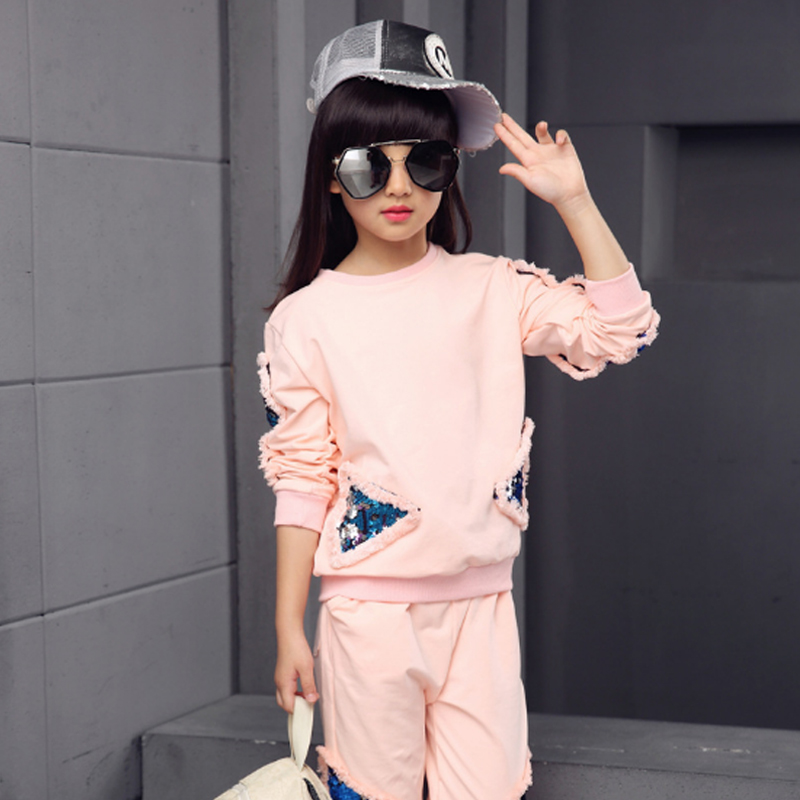 Girls Clothing Sets 2018 New  Autumn Cotton Sequins Sweaters + Pants 2Pcs Kids Boys Suits Casual Tracksuit Children Sets 3cs059 retail 2pcs brand new design girls clothing sets for kids autumn tracksuit for girls velvet jacket pants children sport suit