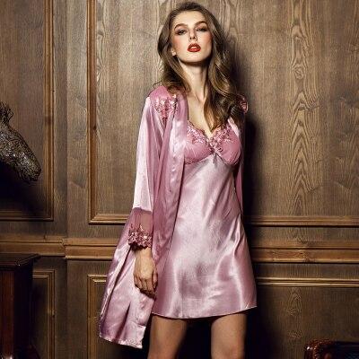 Slik Not Satin Pajamas Suit Sleepwear Women Nightgown Lace Sleepdress Sexy Lingerie Nightdress Babydoll Indoor Home Nightshirt
