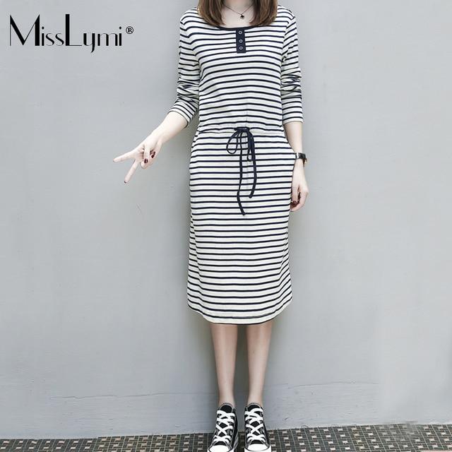 MissLymi XL-5XL Plus Size Women Striped Dress 2017 Autumn Korean Fashion  Ladies Big Sizes 71345afc9724