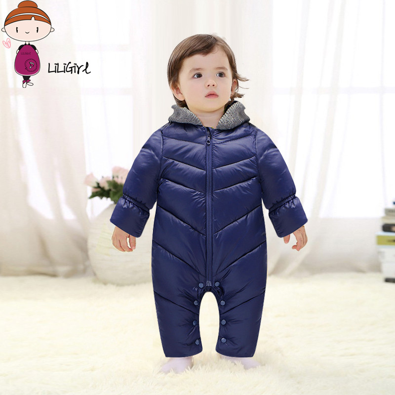 LILIGIRL Winter Baby Rompers jumpsuit Solid Color Hooded Keep Warm duck down Boys Girls Jumpsuit High Quality Baby Clothes 0-18M russia winter boys girls down jacket boy girl warm thick duck down