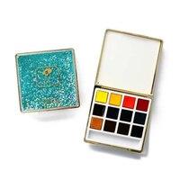 Rubens Ослепительная серия однотонной акварельной живописи для взрослых 12 Мини Портативный цвет сплошной цвет сверкающий песок коробка худож...