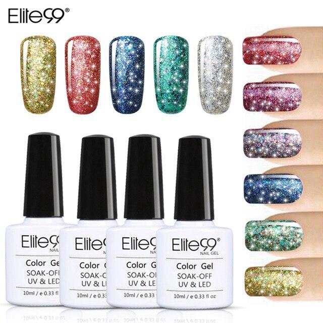 Elite99 Gel súper brillante esmalte de uñas remojo puro UV LED Gel estrellado polaco UV LED brillo lentejuelas Gel de uñas para arte de uñas 10 ml
