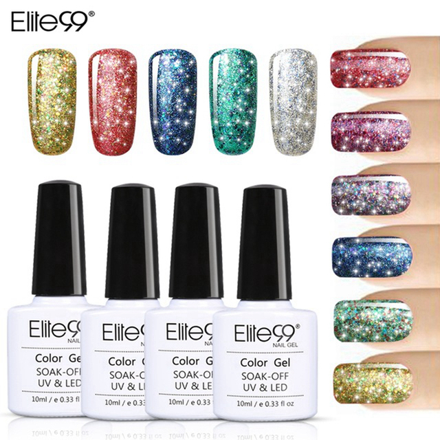 Elite99 Super Bling uñas de Gel polaco puro remojo UV LED estrellado Gel UV LED brillo lentejuelas de uñas de Gel para arte de uñas 10 ml