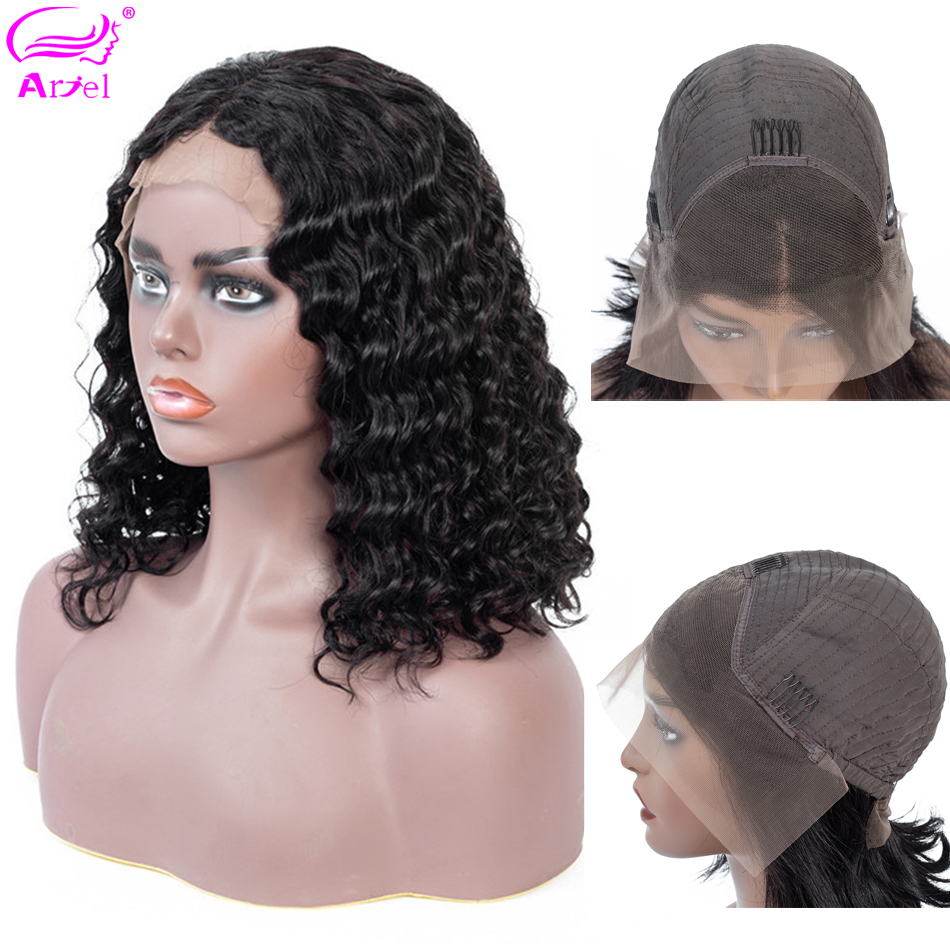 Deep Wave Wig Lace Front Human Hair Wigs For Black Women Honey Brown Short Lace Wig