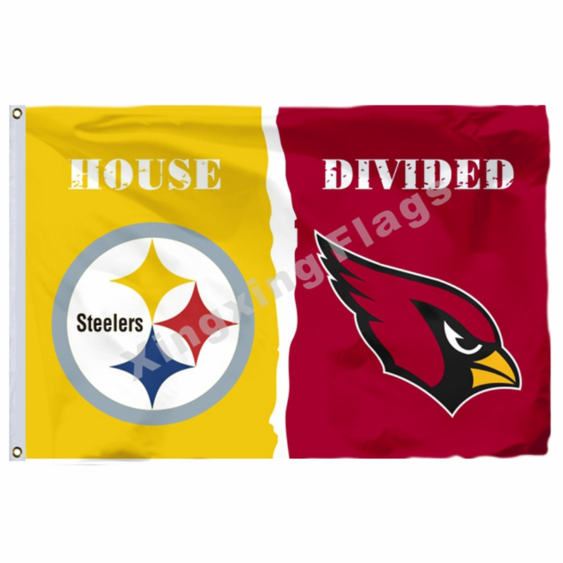 Pittsburgh Steelers Arizona Cardinals House Divided Flag 3ft X 5ft Polyester NCAA Banner Flying Size No.4 144* 96cm Custom Flag