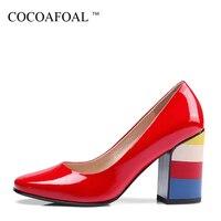 COCOAFOAL Người Phụ Nữ Cưới Cao Gót Giày Thời Trang Màu Đen Đỏ Sexy Stiletto High Heels Shoes Đảng Da Patent Vuông Toe Bơm