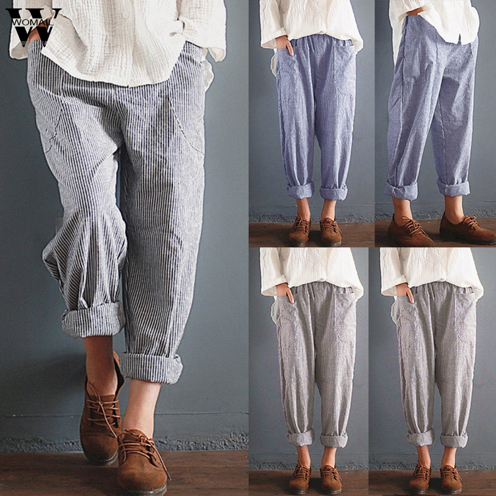 Womail Women Pants Summer Fashion Ladies Striped Loose Trousers Pants Casual High Waist Wide Leg Long Pants 2019 J61
