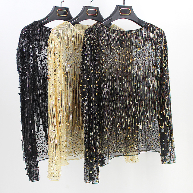 High Street Runway Women Tunic Sexy Long Sleeve Perspective Gauze Mesh Lace  Shirt Sequined Bead Diamond 63d64d7f27d1